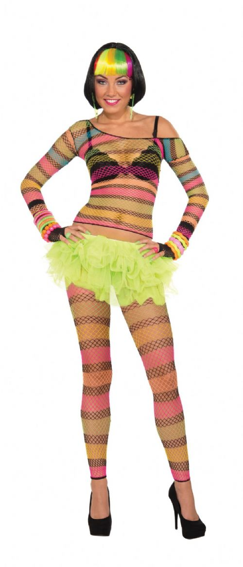 Ladies Fishnet Top Rainbow Costume Sexy Adult Role Play Fancy Dress